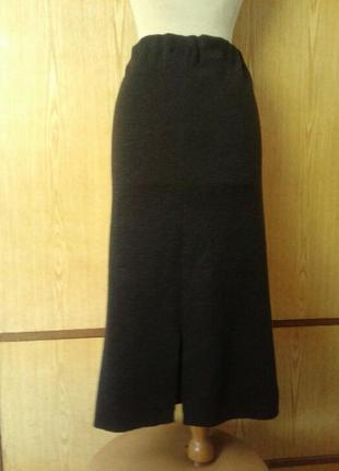 Шерстяная юбка-чулок темно - серого цвета,46/ l.4 фото