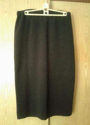 Шерстяная юбка-чулок темно - серого цвета,46/ l.5 фото