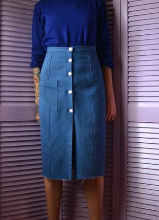 Классическая джинсовая юбка миди