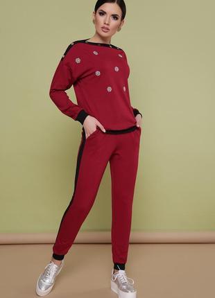 Костюм флирт повседневный бордовый костюм