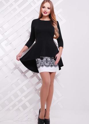 Узор черный костюм элизабет элегантный женский костюм черно-белого цвета