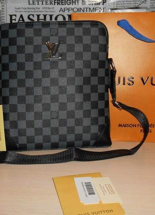 Сумка мужская планшетка в стиле louis vuitton кожа, франция 147-21 фото