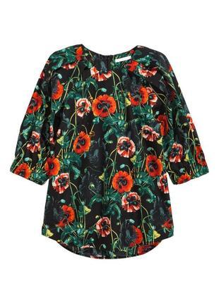 Шикарнаяe блуза с цветочным принтом h&m (огромный выбор пиджаков)