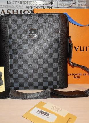 Сумка мужская планшетка в стиле louis vuitton кожа, франция 130-2