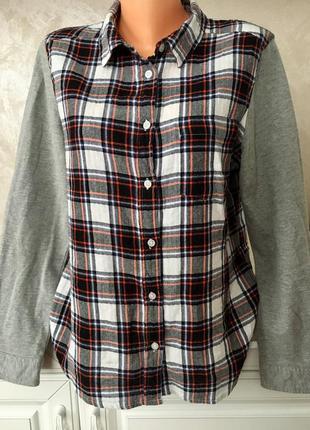 Трендовая рубашка в клетку с трикотажными рукавами