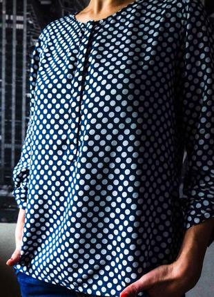 Блуза-рубаха в горошек s-m