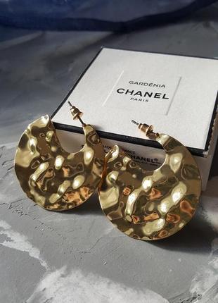 Круглые серьги изогнутые золотые полукруг тренд 2019 массивные