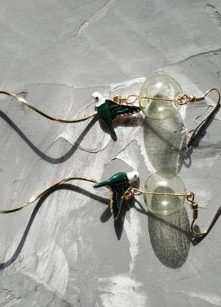 Аккуратные нежные серьги геометрические спирали птицы пузырьки6 фото