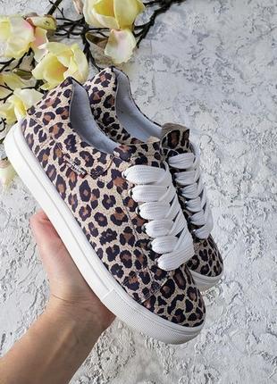Кеды кожаные с леопардовым принтом