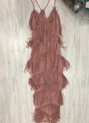 Платье макси с бахромой6 фото