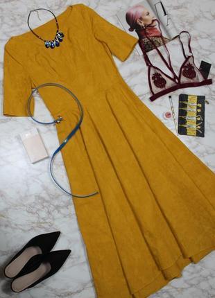 Обнова! платье миди а-силуэт пышное нарядное горчичное в стиле dior