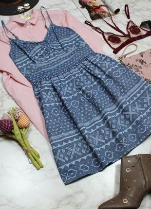 Обнова! платье деним джинс сарафан принт геометрия3 фото