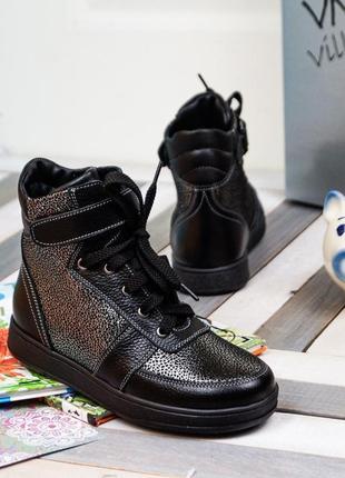 Кожаные детские ботинки блестящие для девочки 31, 33