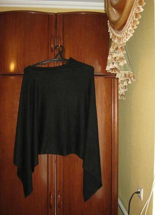 Пончо гималайская пашмина, цвет черный, производитель-кашмир