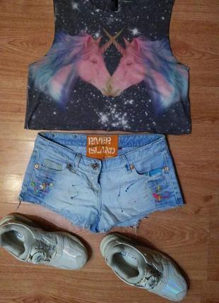 """Крутые джинсовые шорты """"river island"""" будто заляпанные красками"""