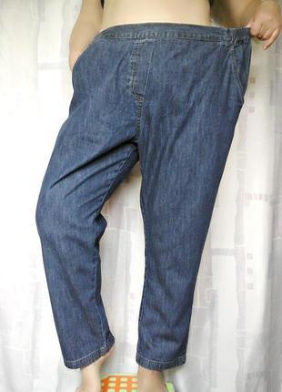 Комфортные джинсы на резинке, с карманами, 100% хлопок