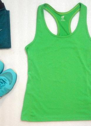 Классный спортивный топ майка для фитнеса бега спорта йоги ярко зеленая от h&m l