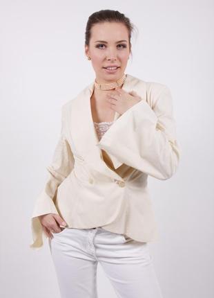 Пиджак жакет приталенный с воротником-шалькой и широким рукавом