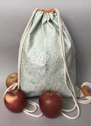 Хлопковый рюкзак, эко сумка, пляжная, пляжный6 фото