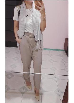 44\10 р пудровые брюки высокая талия шелковый пояс
