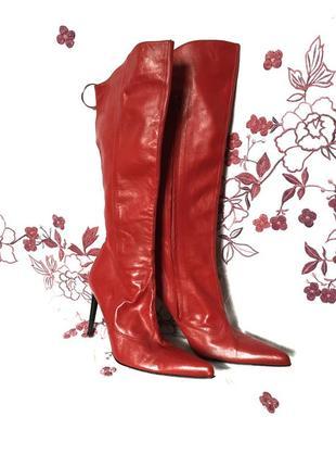 Натуральные кожаные красные сапоги   - акция 1+1=3 на всё 🎁3 фото