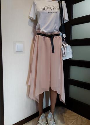 Крутая летящая юбка трапеция тончайшая пудрово-розового цвета