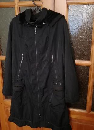 Стильное спортивное тоненькие пальто плащевка на весну размер 54-562 фото