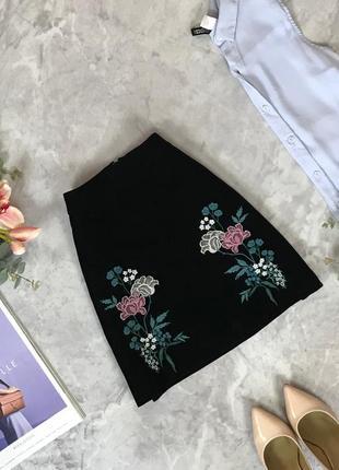 Велюровая юбка-трапеция с вышивкой  ki1916010 dorothy perkins