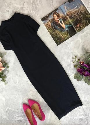 Базовое платье в темно-синем цвете с трикотажа  dr1916035 atmosphere