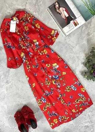 Мегастильное струящееся платье-миди в актуальный цветочный принт  dr1916065