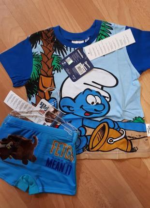 Модный комплект на2.3г плавки шортики и футболка смурфики коттон