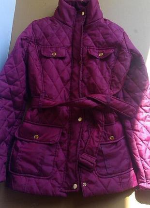 Стильная стеганная деми курточка на синтепоне цвет фуксия