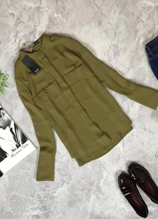 Мегастильная блуза с воротником-стоечкой и накладными карманами  bl1916097