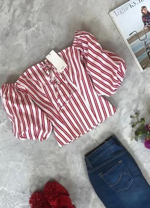 Укороченная блуза в полоску с объемными рукавами  bl1916107  mango
