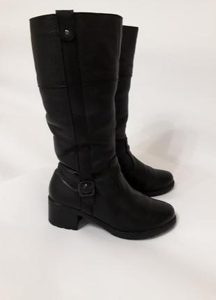Зимние кожаные сапоги устойчивый каблук натуральная кожа комфортные