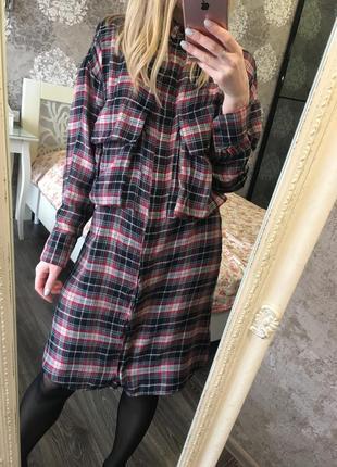 Рубашка-платье в клетку mango