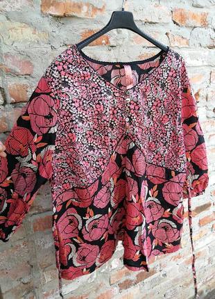 Блуза evans батал принт цветы орнамент большого размера с завязками коттон хлопок