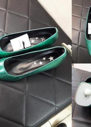 """Туфли новые на маленьком каблучке, фирмы """"reserved"""", цвет:изумрудный (зеленый)"""