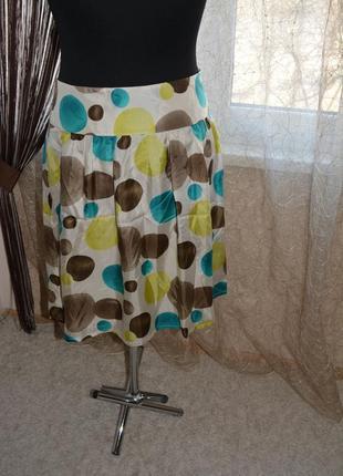 Летняя шелковая юбка на кокетке, горох