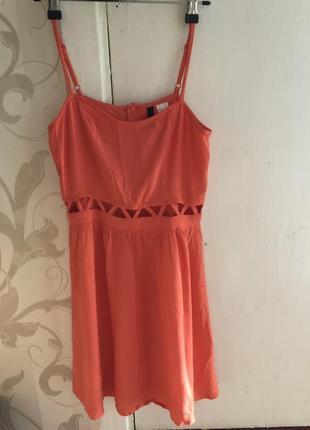 Оранжевое вискозное летнее платье сарафан
