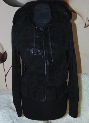 Замшевая куртка,стильная с капюшоном