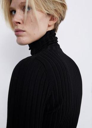 Черный гольф zara водолазка черная свитер с горлом кофта в рубчик гольф2 фото