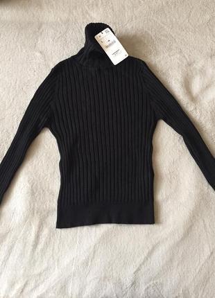 Черный гольф zara водолазка черная свитер с горлом кофта в рубчик гольф3 фото