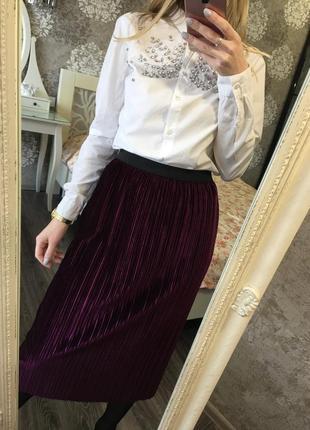 Плиссированная юбка бархат