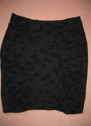 Оригинальная юбка трикотажная темно-синяя