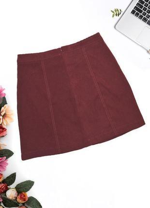 Бордовая юбка с кнопками f&f2 фото