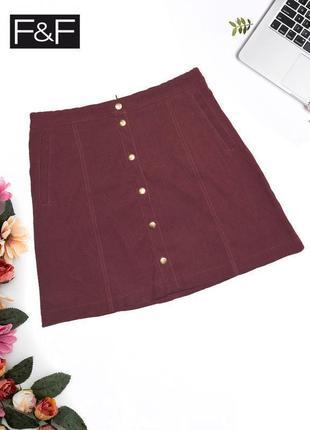 Бордовая юбка с кнопками f&f