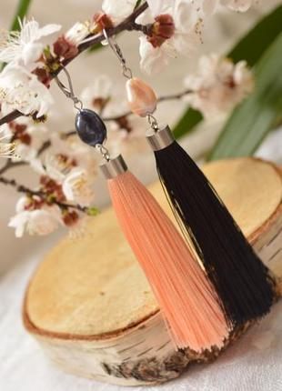 Серьги - кисти черного и розового цвета с жемчугом ′зазеркалье′