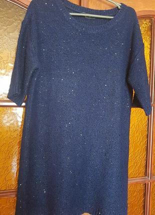 Теплое платье туника с паетками на наш 48-50р-р