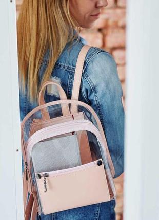 Пудовый силиконовый прозрачный молодёжный женский городской рюкзак